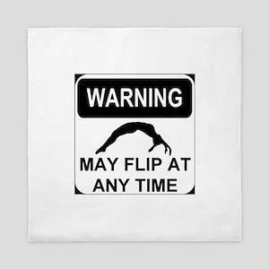 Warning May Flip Gymanstics Queen Duvet