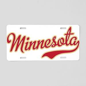 Minnesota Script Crimson an Aluminum License Plate