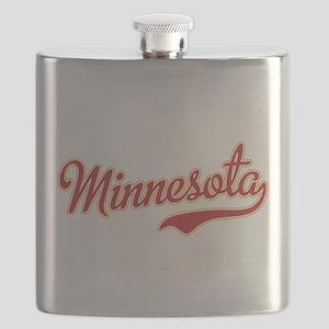 Minnesota Script Crimson and Gold Flask