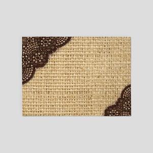 burlap lace primitive western count 5'x7'Area Rug