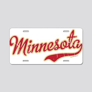 Minnesota Script Crimson an Aluminum License Plate