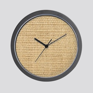 rustic western country beige burlap Wall Clock