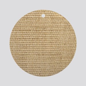 rustic western country beige burlap Round Ornament