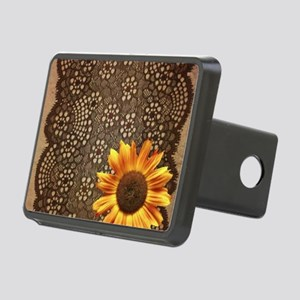 girly sunflower brown lace Rectangular Hitch Cover