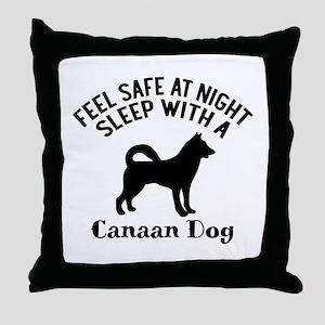 Sleep With Canaan Dog Designs Throw Pillow
