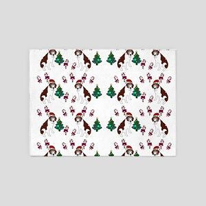 Christmas Saint Bernard dog 5'x7'Area Rug