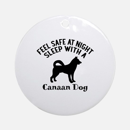 Sleep With Canaan Dog Designs Round Ornament
