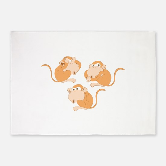 The three wise monkeys 5'x7'Area Rug