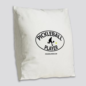 Pickleball Player #2 Burlap Throw Pillow