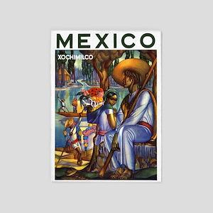 Xochimilco Mexico ~ Vintage Travel 5'x7'Area Rug