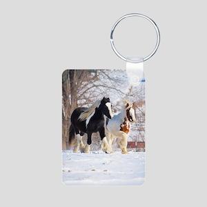 Snow ponies Aluminum Photo Keychain