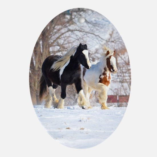 Snow ponies Oval Ornament
