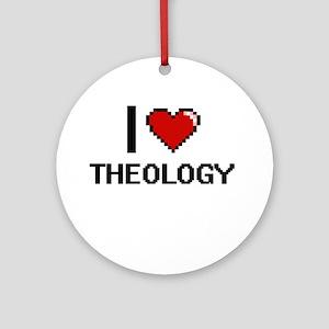 I love Theology digital design Round Ornament