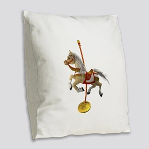 Palomino Carousel Horse 1 Burlap Throw Pillow