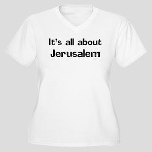 About Jerusalem Women's Plus Size V-Neck T-Shirt