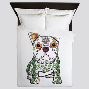 Sugar Skull Frenchie Queen Duvet