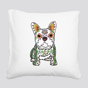 Sugar Skull Frenchie Square Canvas Pillow