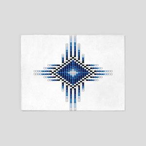 Native Style Blue Radiant Sun 5'x7'Area Rug