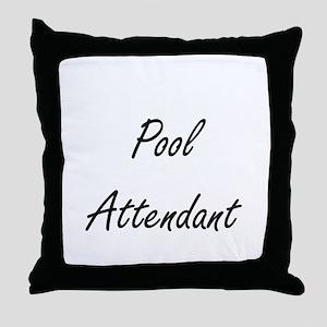 Pool Attendant Artistic Job Design Throw Pillow