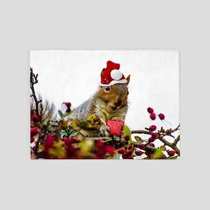 Christmas squirrel 5'x7'Area Rug