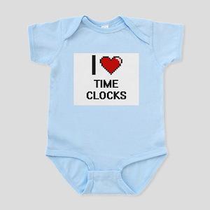 I love Time Clocks digital design Body Suit