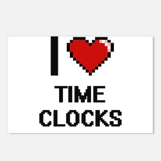 I love Time Clocks digita Postcards (Package of 8)