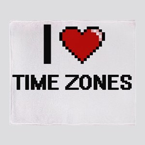 I love Time Zones digital design Throw Blanket