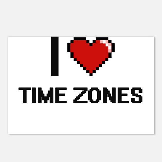 I love Time Zones digital Postcards (Package of 8)