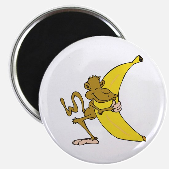 Silly Monkey Hugging Banana Magnet