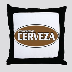 Powered By Cerveza Throw Pillow