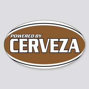 Powered By Cerveza Oval Sticker