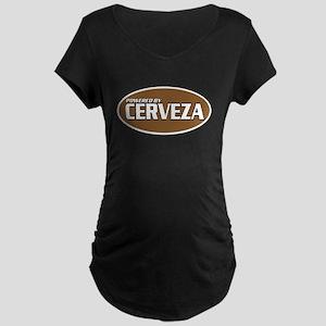Powered By Cerveza Maternity Dark T-Shirt