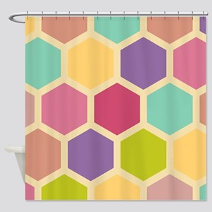 Hexagon Pastel Shower Curtain