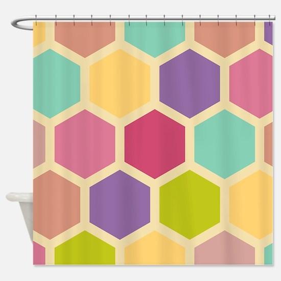 Hexagon Pastel Shower Curtain