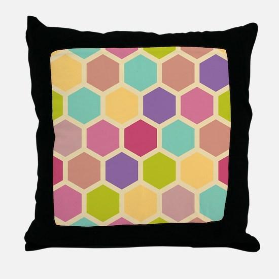 Hexagon Pastel Throw Pillow