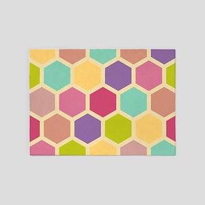 Hexagon Pastel 5'x7'Area Rug