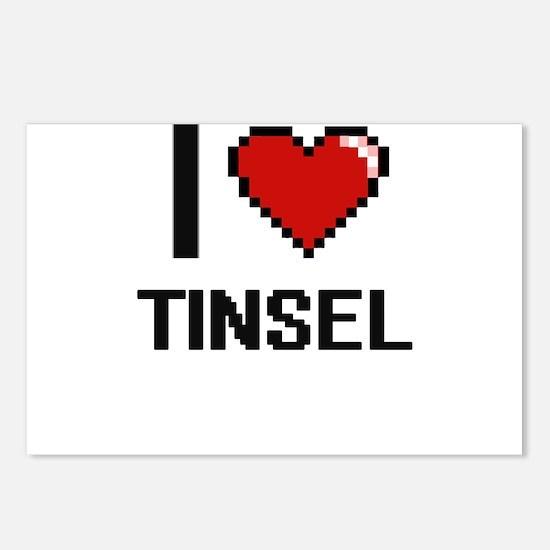 I love Tinsel digital des Postcards (Package of 8)