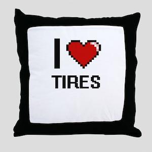 I love Tires digital design Throw Pillow