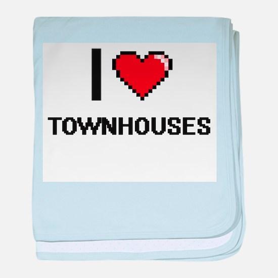 I love Townhouses digital design baby blanket