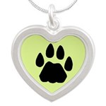 cat tracks Silver Heart Necklace