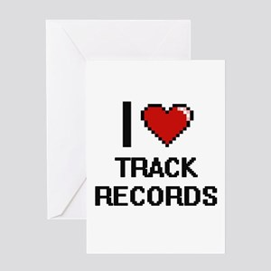 I love Track Records digital design Greeting Cards