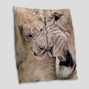 Gambling Lions Burlap Throw Pillow