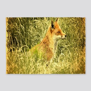 nature wildlife red fox 5'x7'Area Rug