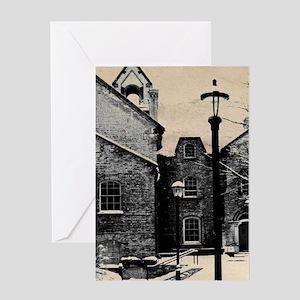 vintage church street light Greeting Cards