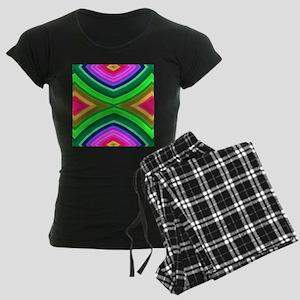 girly rainbow geometric patt Women's Dark Pajamas