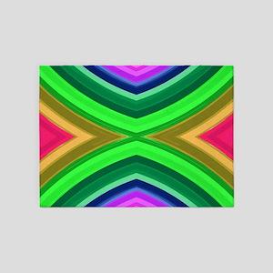 girly rainbow geometric pattern 5'x7'Area Rug