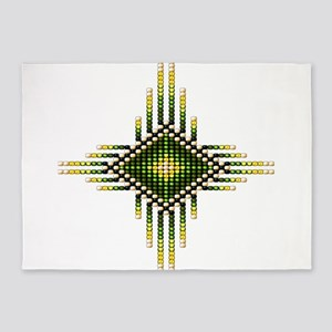 Native Style Green Radiant Sun 5'x7'Area Rug