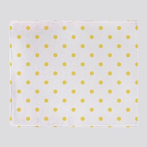 Yellow, Canary: Polka Dots Pattern ( Throw Blanket