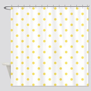 Yellow Canary Polka Dots Pattern Shower Curtain