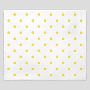 Yellow, Canary: Polka Dots Pattern (Sma King Duvet